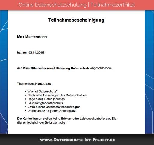 Datenschutzschulung Zertifikat | Vorschau | Bild 01