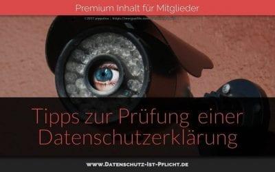 Tipps zur Prüfung einer Datenschutzerklärung